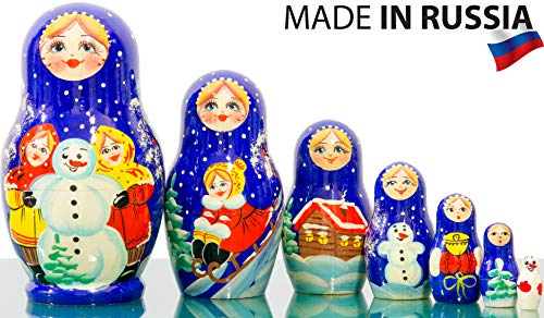 - Russian Nesting Doll Dolls - Hand Painted in Russia - 5 Color/Size Variations - Traditional Matryoshka Babushka (4.75``(7 Dolls in 1), Floral B)