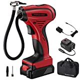 Air Compressor, 12V Car Charger & Battery Pack Powered Cordless Portable Tire Inflator with Digital Pressure Gauge | 1-Year Warranty