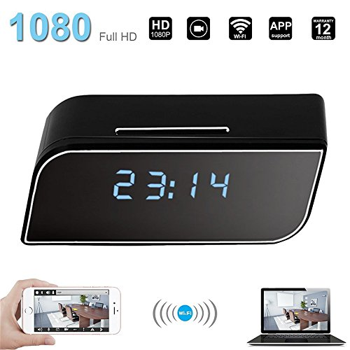 Spy HD 1080P Wifi Hidden Camera Alarm Clock Night Vision-Motion Detection-loop video recording-Home Surveillance Nanny Cam (Black)