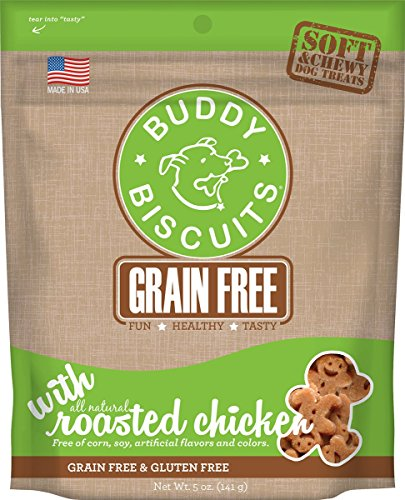 Cloud Star Grain Free Soft and Chewy Buddy Biscuits Dog Treats, Rosted Chicken, 5-Ounce
