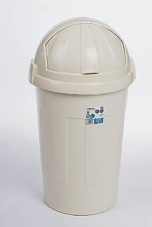Ponze Kunststoff Abfalleimer, 50 Liter Schwingdeckel Küche Home Staub  Abfall Papier Mülleimer Cremefarben