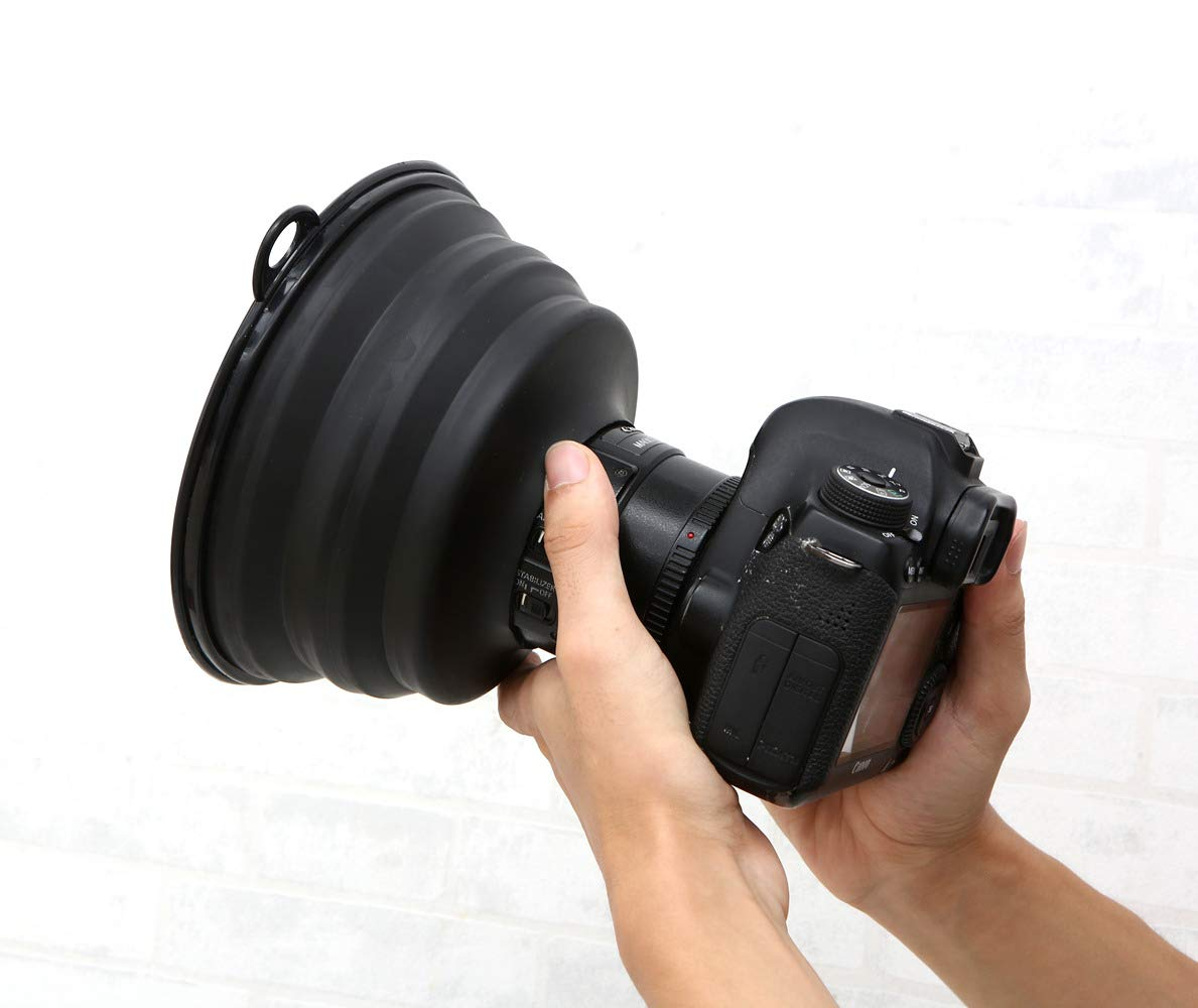 Ultimate Lens Hood Black Silicone Cone That extends Over Any Lens,Reduces Lens Flare and Glare Blocks Excess Sunlight for Enhanced Photography and Video