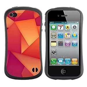 """Pulsar iFace Series Tpu silicona Carcasa Funda Case para Apple iPhone 4 / iPhone 4S , Patrón Polígono Wallpaper Naranja Púrpura"""""""