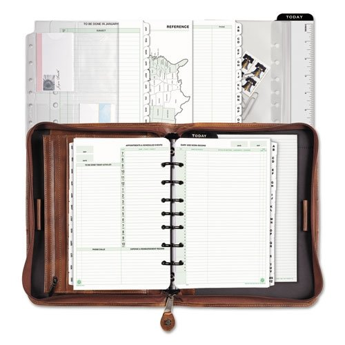 Day-Timer 80844 Aviator Distressed Leather Starter Set, 5 1/2 x 8 1/2, Dark Tan - Planner Organizer Wallet