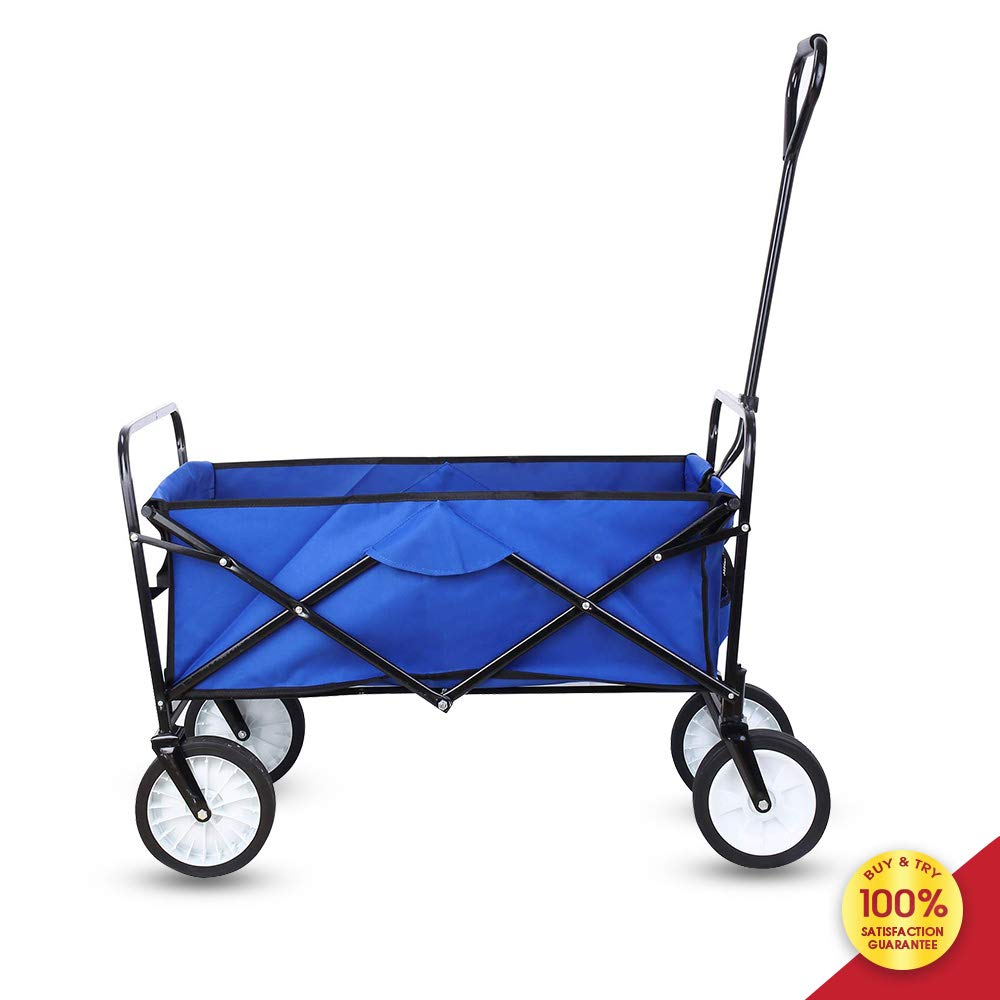 Foldable Pull Wagon Hand Garden Transport Collapsible Portable Folding Cart, Blue