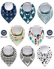 Baby Dreieckstuch Lätzchen - RIGHTWELL 8er Baumwolle Bandana Spucktuch Saugfähig Halstücher mit Druckknöpfen für Sabbern und Zähne, Baby Shower Geschenkset für Jungen und Mädchen
