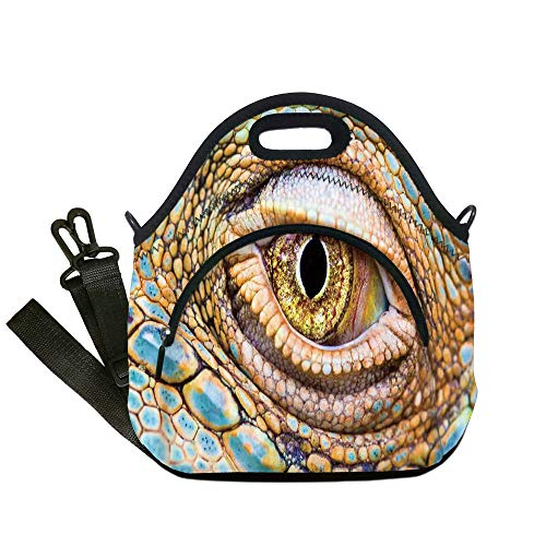 Insulated Lunch Bag,Neoprene Lunch Tote Bags,Reptiles,Graphic of Creepy Eye of Iguana with Colorful Details in Skin Reptiles Look Tropical Decor,Multi,for Adults and -
