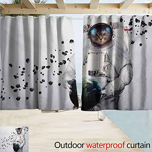 Rod Pocket Top Blackout Curtains/Drapes,Space Cat Astronaut Kitten in Space Suit Holding World with Galaxy Clusters Image,Simple Stylish Waterproof,W63x72L Inches,White Black and Blue