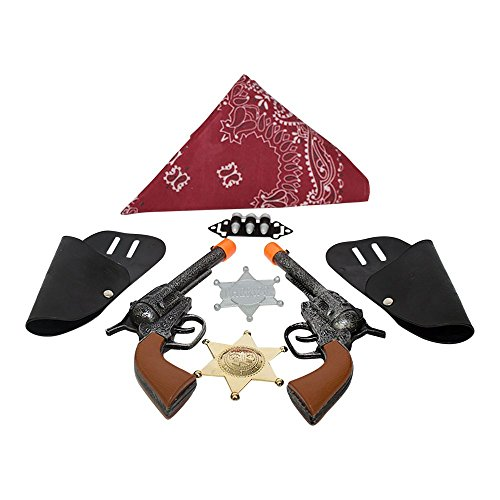 Imprints Plus BG Dress Up Cowboy Costume Accessories for Kids 11-Piece Set Includes 2 Click-Action Toy Guns with Belt Holsters Bandanna Pair of Badges, 3 Play Bullets and a faux (Big Tex Holster)