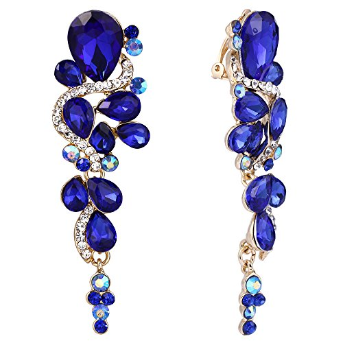 Blue And Gold Costumes - BriLove Wedding Bridal Clip On Earrings