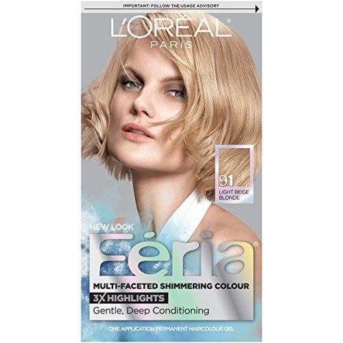 L'Oréal Paris Feria Multi-Faceted Shimmering Permanent Hair Color, 91Champagne Cocktail (Light Beige Blonde), 1 kit Hair Dye -
