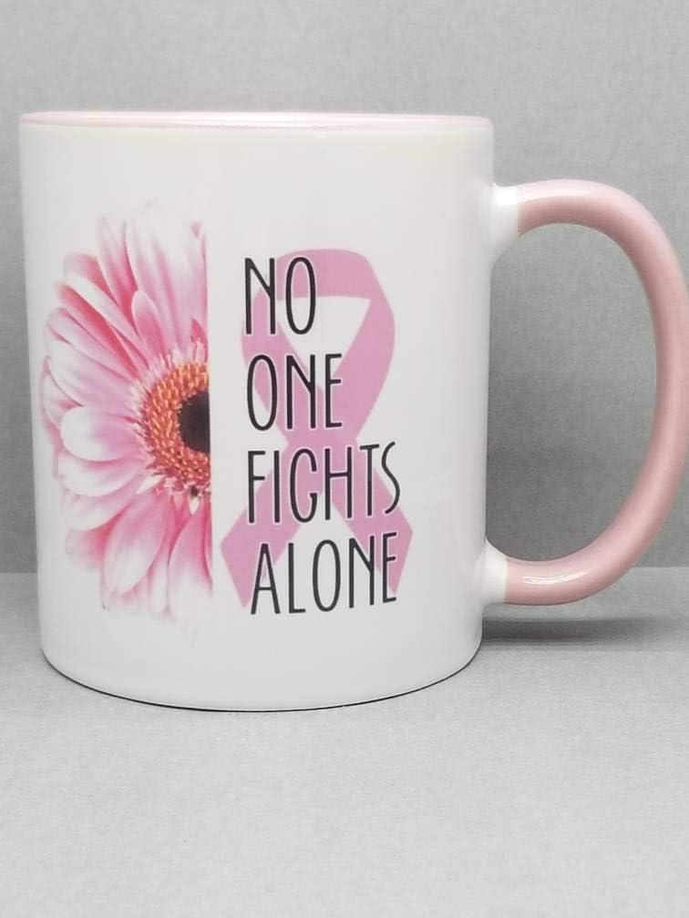Taza sublimada con diseño de cáncer de mama, 11 onzas, 2 caras, con lazo rosa, para regalo de cáncer de mama, color rosa
