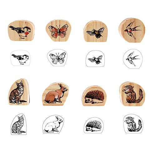 8 Pieces Wooden Rubber Stamps, Wildlife Decorative Mounted Rubber Stamp Set for DIY Craft, Letters Diary and Craft Scrapbooking
