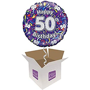 InterBalloon Helium Inflated Happy 50th Birthday Purple Streamers Balloon Delivered In A Box