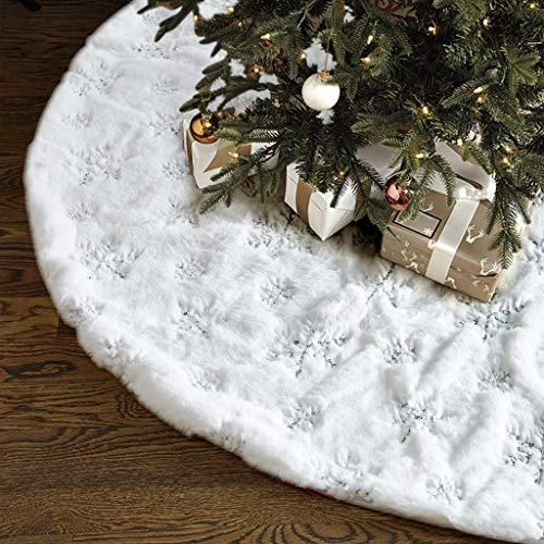 White Fur Skirt - Christmas Tree Skirt - 48 inches