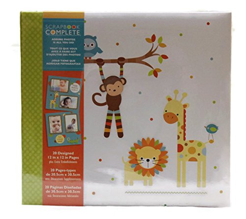 Tapestry Baby Zoo Animals Themed, Baby Scrapbook and Photo Album suitable for 12