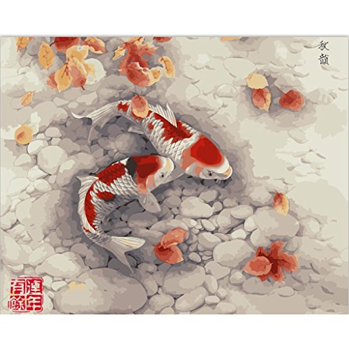 "Calm Framed - Framed - Assorted Paint-by-Number Kits for Adults – Calming Koi (Framed) - Includes Brushes, Paints and Numbered Canvas - 16"" x 20"" – Great for Kids and Adults – by Red Stapler"