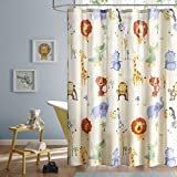 Safari Sam Kids Shower Curtain, Print Animal Shower Curtains for Bathroom, 72 X 72, Multi Color