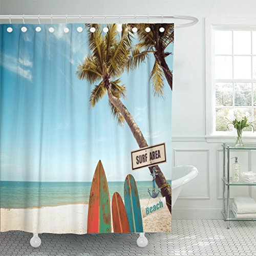 Emvency Shower Curtain Blue Surfboard Vintage Surf Board with Palm Tree on Tropical Beach in Summer Color Tone Green Retro Waterproof Polyester Fabric 72 x 72 inches Set with - Tropical Surfboard