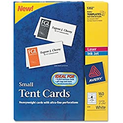 Avery 5302 Small Tent Card, White, 2 x 3-1/2, 4 Cards/Sheet, 160 Cards/Box