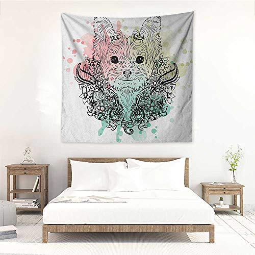 Yorkie Square Tapestry Wall Hanging Sketch of a Cute Yorkshire Terrier on a Bed of Flowers Black and White Drawing Art Tapestry for Home Decor 70W x 70L INCH Black White