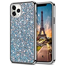 HoneyAKE Case for iPhone 11 Pro Case Bling Rhinestone Sparkly Crystal Diamond Shockproof Handmade Dual Layer Shell Hard PC Soft Rubber Bumper Protective Cover for iPhone 11 Pro 5.8 inch Blue