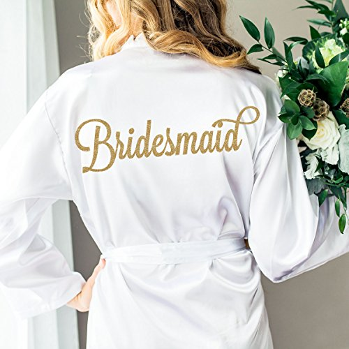 Wedding Robe for Bridesmaids, Bridal Party Robes, Gift for Bridesmaid Glitter Embellished Satin Robe for Wedding