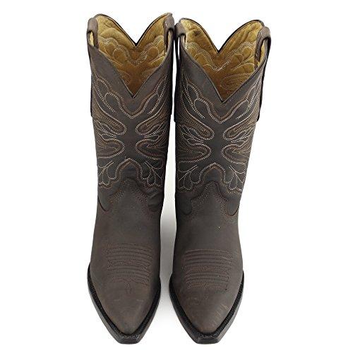 Grinders Dallas Bottes Western Motard en Cuir Noir Femme Cowboys Bottes à Talons