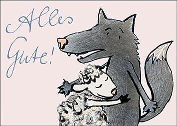 Carte D Anniversaire Humoristique Avec Loup Et Mouton Bonne Chance