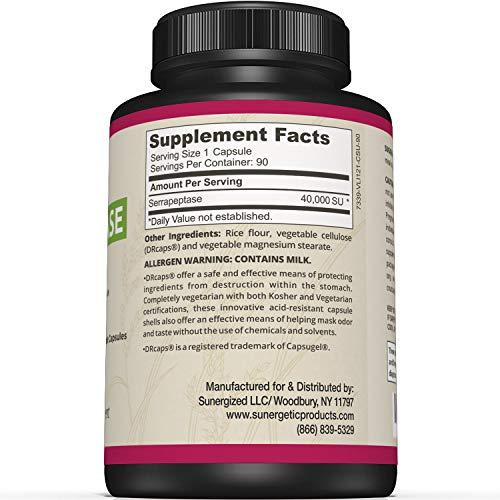Premium Serrapeptase Enzyme Supplement - Helps Support Sinus Health -  Powerful Serrapeptase Enzymes Formula - 40,000 SU Per Capsule- 90 Enteric  Coated