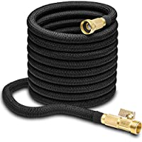 "Hospaip 50ft Garden Hose - All New Expandable Water Hose with Double Latex Core, 3/4"" Solid Brass Fittings, Extra Strength Fabric - Flexible Expanding Hose with Metal 8 Function Spray Nozzle"