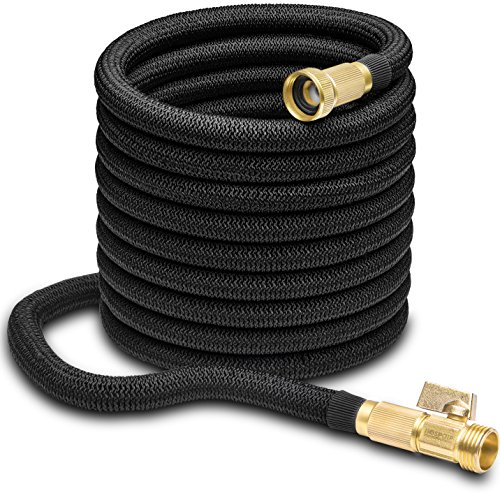 50ft Garden Hose - ALL NEW Expandable Water Hose with Double Latex Core, 3/4' Solid Brass Fittings, Extra Strength Fabric - Flexible Expanding Hose with Storage Bag for Easy Carry by Hospaip