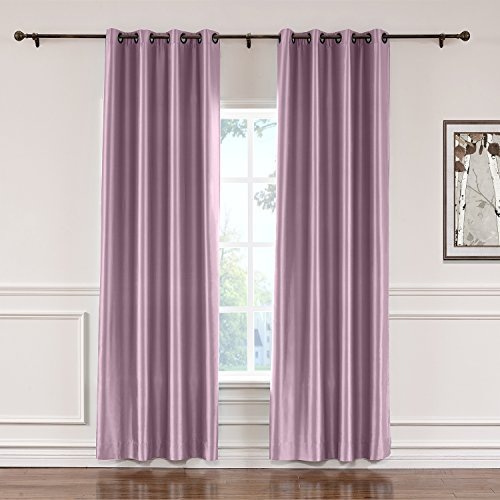 - ChadMade Elegant Vintage Polyester Cotton Silk Solid Curtain Smoky Plum 50
