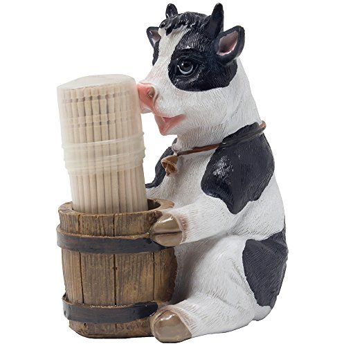 (Decorative Holstein Cow Toothpick Holder Set Figurine with Wood Toothpicks and Old Fashioned Water Pail Display Stand for Rustic Bar or Country Kitchen Décor as Farm Animal Gifts for Dairy Farmers)