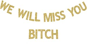 We Will Miss You B-tch Banner, Friends Farewell/Going Away/Moving/Leaving/New Job Congratulations Party Gold Gliter Sign Decortions