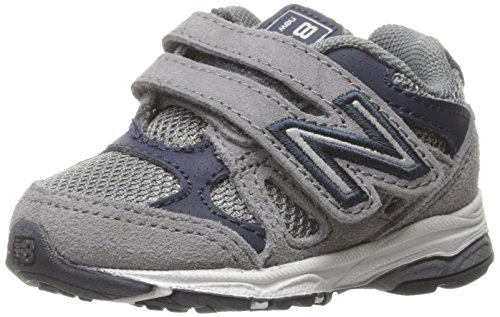 New Balance Kids KV888 Running Shoe, Grey/Navy, 13.5 Wide US Little Kid