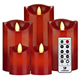 Battery Operated Candles Red Flameless Candles with Remote Timer 24- Hours Flickering Candles Set of 5 for Parties Gifts & Decoration Use(Red)-Comenzar(Batteries not included)