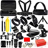 Action Camera Accessories Kit for GoPro Hero 7 6 5 4 3+ Session Accessory Bundle Set for Action Camera SJ4000 SJ5000 SJ6000 Xiaomi Yi Handle+Head Strap+Chest Strap+Carrying Case for Christmas