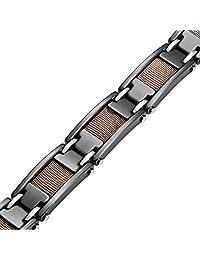 R&B Jewelry Amazing Bronze Black Rail Heavy Solid Tungsten Carbide Men's Link Bracelet