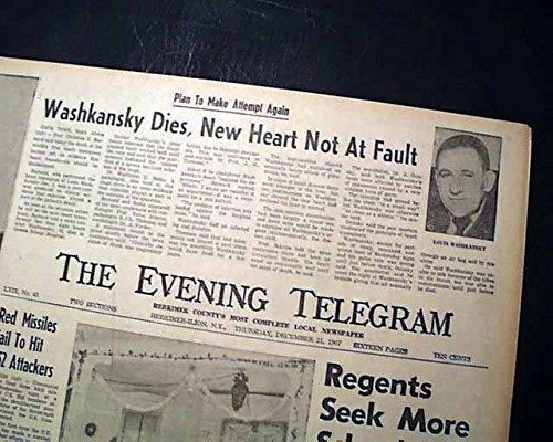 1st HEART TRANSPLANT Christiaan Barnard Louis Washkansky DEATH 1967  Newspaper THE EVENING TELEGRAM, Herkimer-