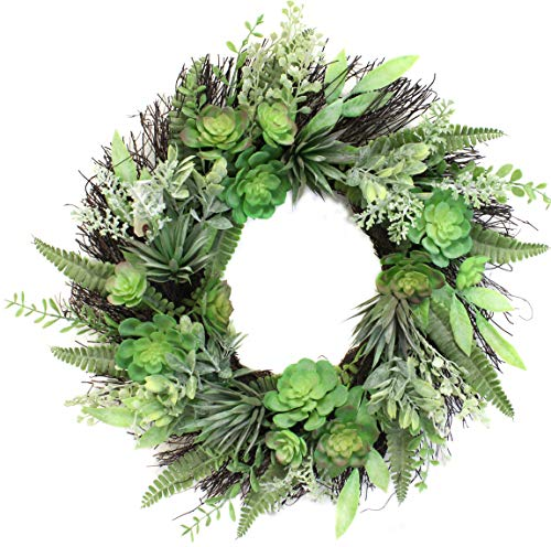 Pottery Barn Wreaths - 22 Inch Succulent Wreath Arrangement for Front Door Home Office Real Twig Based Back