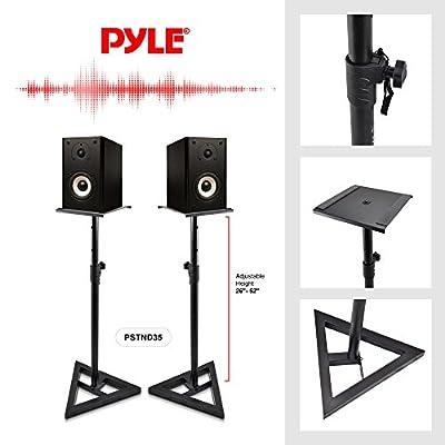 Pyle Studio Monitor Speaker Stands - Pro Audio Bookshelf/Monitor Speaker Stand Mounts, Height Adjustable (PSTND35.5) from Sound Around
