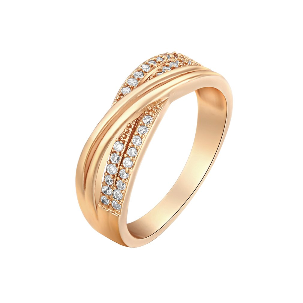 YAZILIND Two Circle 18K Gold Plated Ring 18K Gold Plated Decration Women Popular Present Size 8 YAZILIND JEWELRY LIMITED 1076R1050