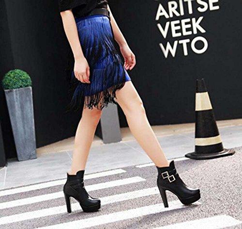 Eu 43 12cm Mujer elástica Martin Tamaño Heel vestir 32 banda de del cinturón pie de Hebilla Chunkly Botas de Black boda Botas Moda de Boots dedo caballero Puntiaguda Ankel Botas Botas rrzFxCq