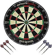 Infinity Darts Bristle Dartboard Set - Includes 6 Metal Tip Darts Set, Self-Healing Sisal Fiber Dart Board, Ro