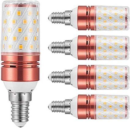 Dmygo 4 paquetes de 12W Candelabro Bombillas, 120 vatios equivalentes, Ventilador de techo, decorativo Candle Base, E14 LED Corn bulbos de lámpara, blanco frío (Color : Warm White)
