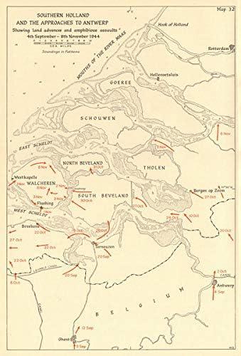 Southern Dutch & Antwerp. Ataques Anfibios Sept-Nov 1944. WW2-1961 - Mapa Antiguo Vintage - Mapas Impresos de los Países Bajos: Amazon.es: Hogar