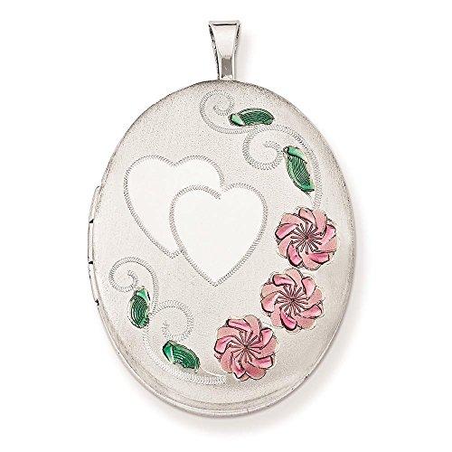 - 925 Sterling Silver Polished & Satin Enamel Floral & Heart Oval Locket Charm Pendant (Holds 2 Photos)