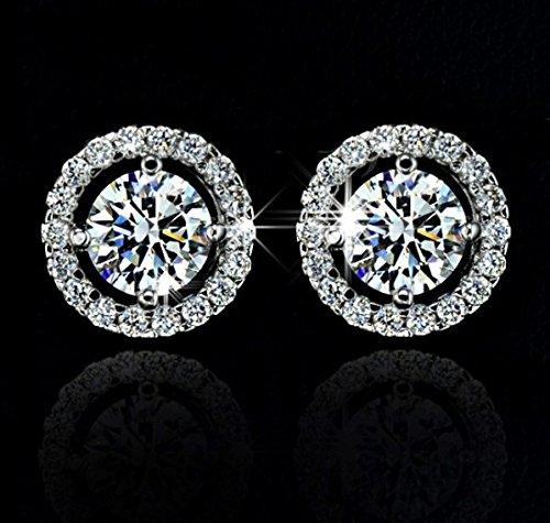 18k White Gold Gp Austria Swarovski Crystal Lady Wedding Engagement Earrings Studs E373 ()