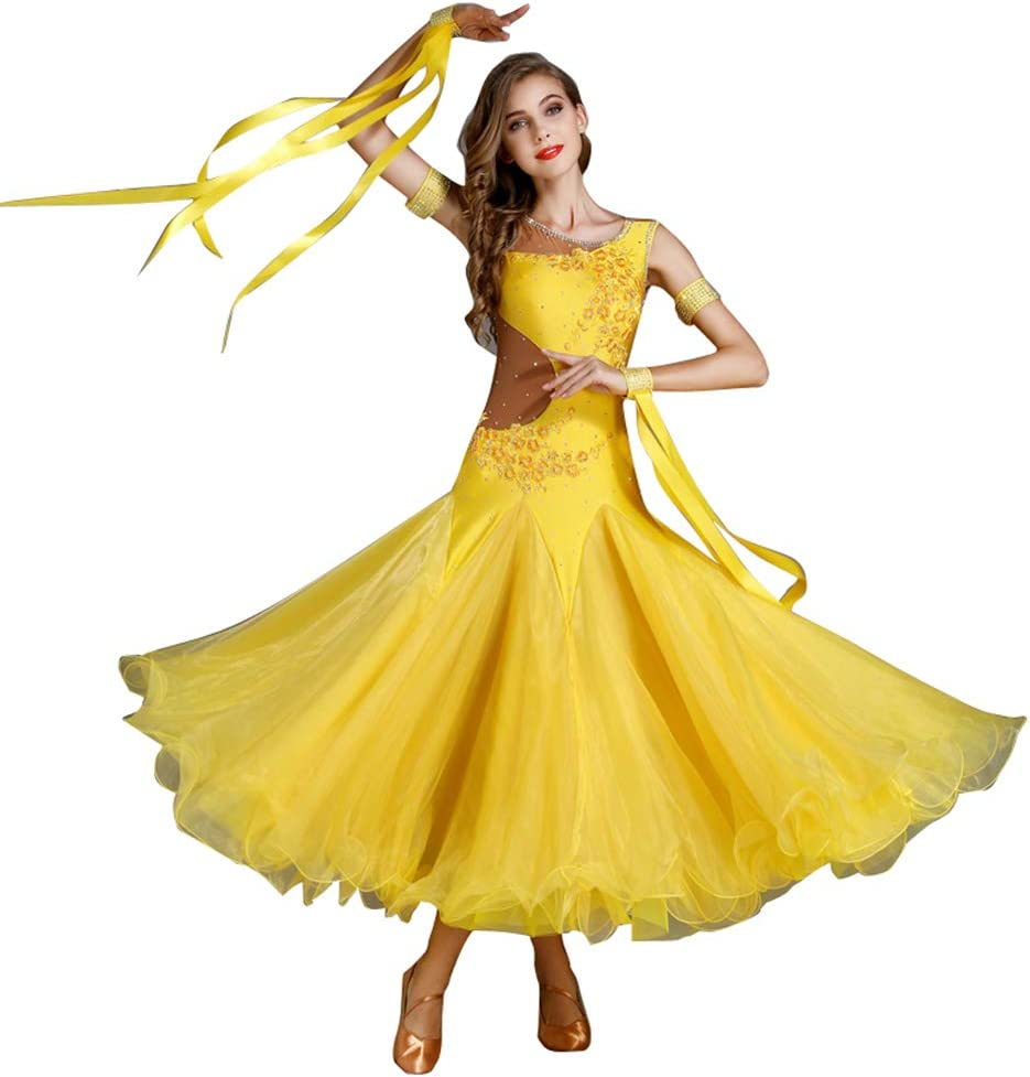 [LNIGHT] 社交ダンスドレス モダンダンス タンゴ スパンコール ワンピース レッスン着 フラメンコ ルンバ サンバ ワルツ専用ドレス スタンダード練習着 競技用 発表会用演出服 イエロー Medium